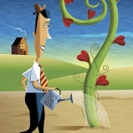 Man watering a beanstalk with heart flowers