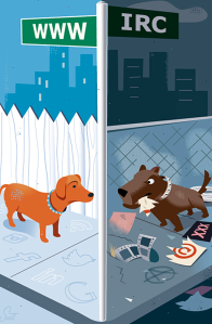 Digital dog corner illustration by Bob Scott.