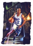 Realistic illustration of basketball player by John Walker.