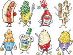 Group of food character illustrations by Larry Jones.