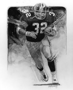Franco Harris illustration by Ron Mahoney.