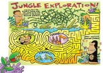 Jungle maze illustration for children by Peter Grosshauser.