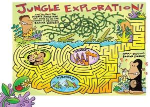 Jungle maze illustration for children by Peter Grosshauser.