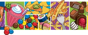 Part of food mural illustration by Ron Magnes.