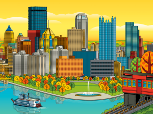 Digital Pittsburgh Skyline illustration by Ron Magnes.