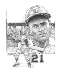 Roberto Clemente illustration by Ron Mahoney.