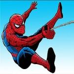 Spiderman swinging from web
