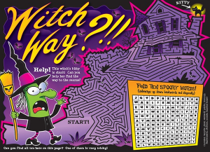 Witch maze illustration by Larry Jones.
