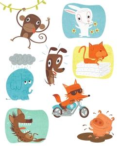 Cartoon animal spot illustrations by George Schill.