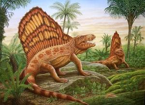 Realistic dinosaur scene illustration by Phil Wilson.