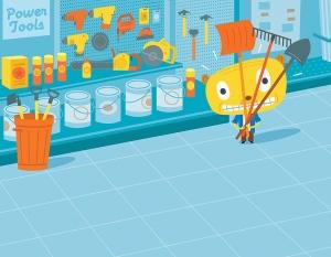 Cartoon hardware store illustration by George Schill.