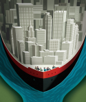 Digital illustration of Pittsburgh as a boat by George Schill.
