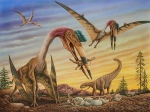 Realistic dinosaur scene illustration by Phil Wilson.