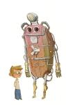 Robot kids illustration by Shahab Shamshirsaz.