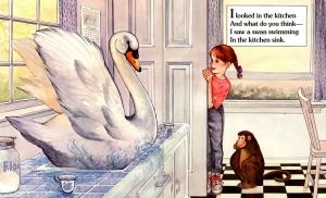 Swan In Kitchen children's illustration by Carol Newsom.