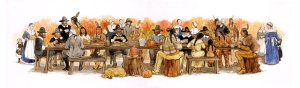 Thanksgiving children's illustration by Carol Newsom.