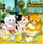 Three Kittens children's illustration by Carol Newsom.