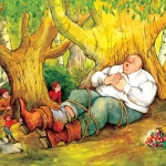 Tom Thumb children's illustration by Carol Newsom.