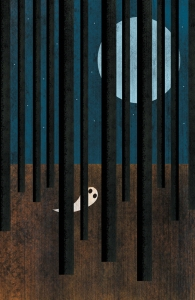 Halloween ghost in trees illustration by George Schill.