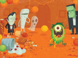Humorous Halloween illustration by George Schill.