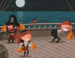 Humorous pirates ship illustration by George Schill.