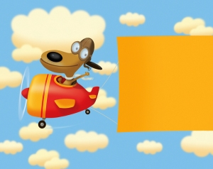 Humorous plane banner illustration by George Schill.