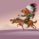 Indian chief illustration by Eugene Vinitski.