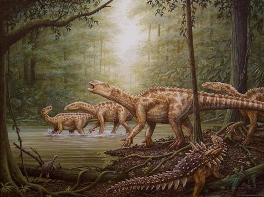 Iguanodon herd:Polacanthus