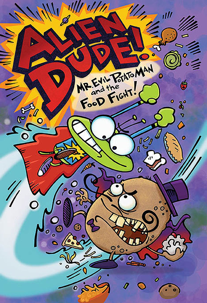 Image of children's book cover titled Alien Dude. Illustration by Peter Grosshauser.