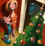 Mother & Son Christmas illustration by Eugene Vinitski.