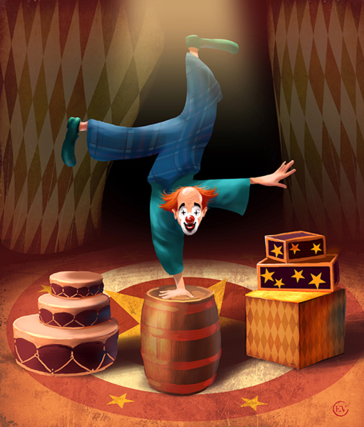 Balancing clown editorial illustration by Eugene Vinitski.