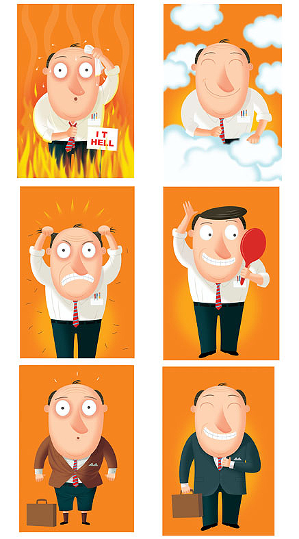 Humorous business man illustration by George Schill.